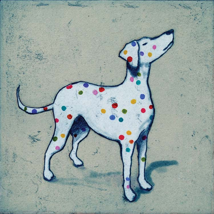 Art Greeting Card, Etching and Aquatint, Dog with coloured spots