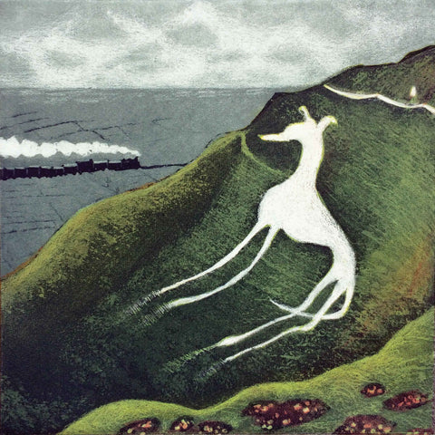 Eric Ravilious' Dog by Mychael Barratt, Fine Art Greeting Card, Etching, Chalk dog on cliff in the style of Ravilious