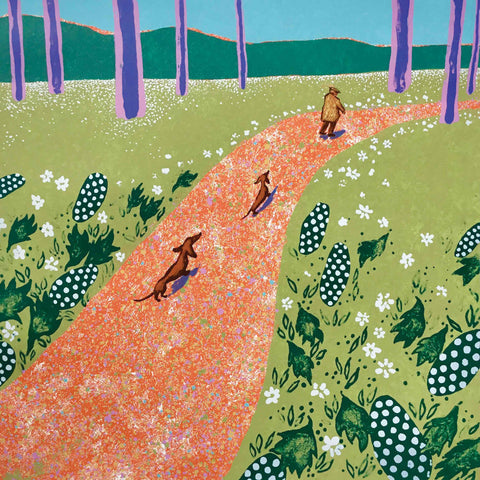 Fine Art Greeting Card by Mychael Barratt, Hockney's Dogs, Two dogs and man walking along path