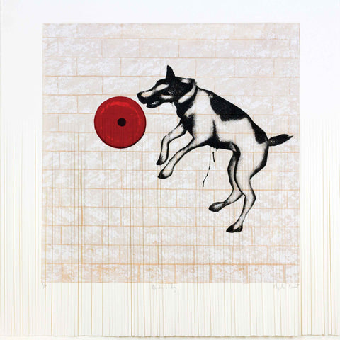 Art greeting card by Mychael Barratt, Banksy style dog jumping for doughnut, shredded image