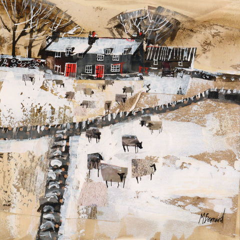 Dales Farm in the Snow by Mike Bernard, Art Greeting Card, Etching and Aquatint, Farm and sheep in snow