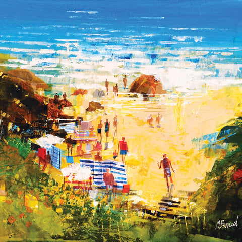 Art Greeting Card by Mike Bernard, Late Summer Swimmers, Watercolour, Swimmers on the beach