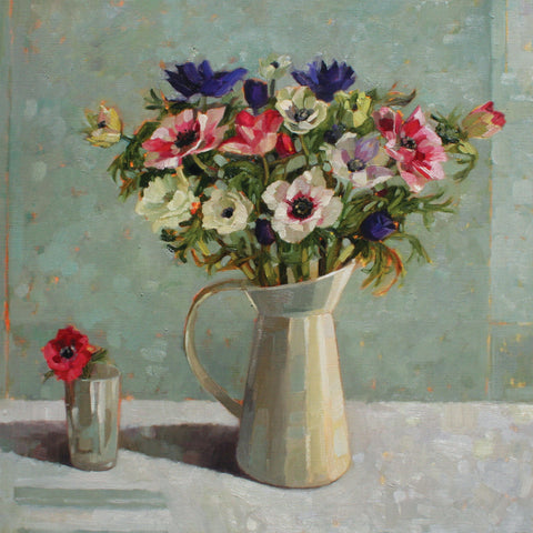 Anemones in a Cream Jug by Anne-Marie Butlin, Fine Art Greeting Card, Oil on Canvas, Anemones in cream jug