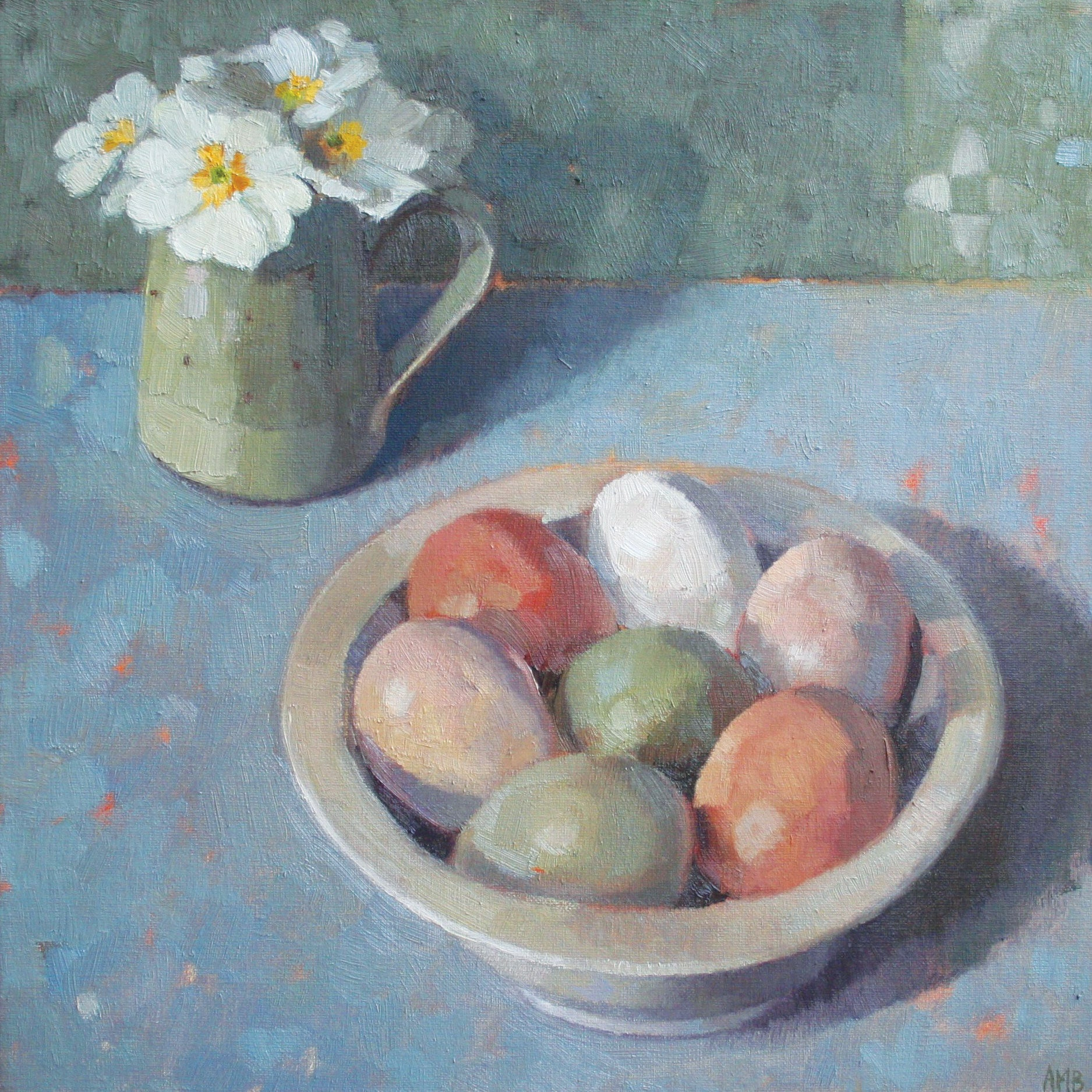 Bowl of Eggs by Anne-Marie Butlin, Fine Art Greeting Card, Oil on Canvas, Eggs in bowl and flowers
