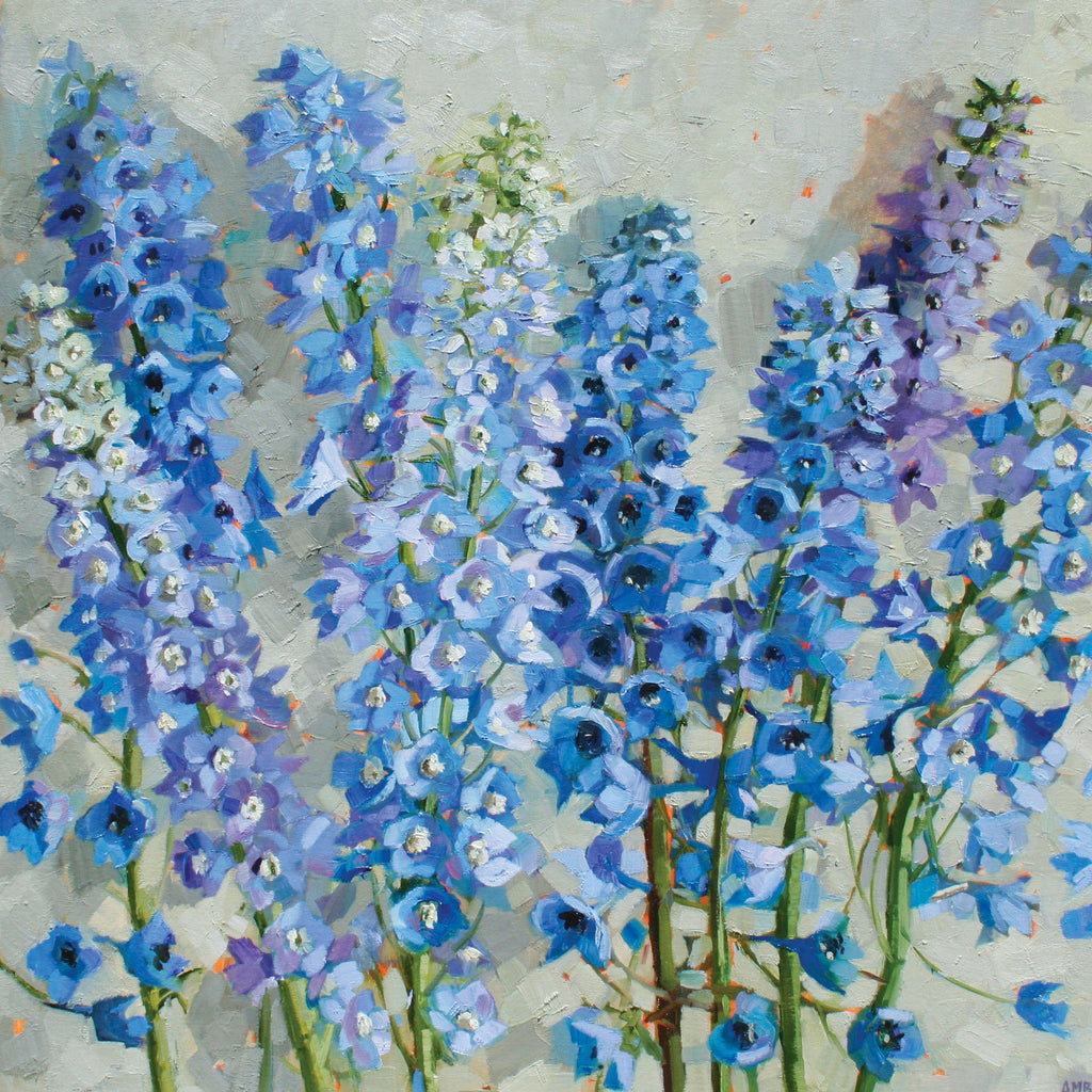 Delphiniums by Anne-Marie Butlin, Fine Art Greeting Card, Oil on Canvas, Delphiniums