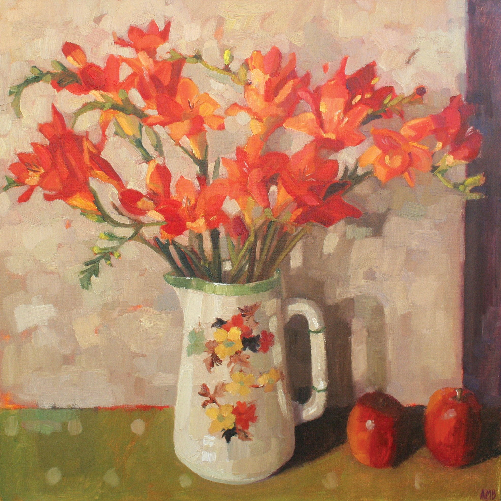 Freesias by Anne-Marie Butlin, Fine Art Greeting Card, Oil on Canvas, Orange freesias in jug and apples