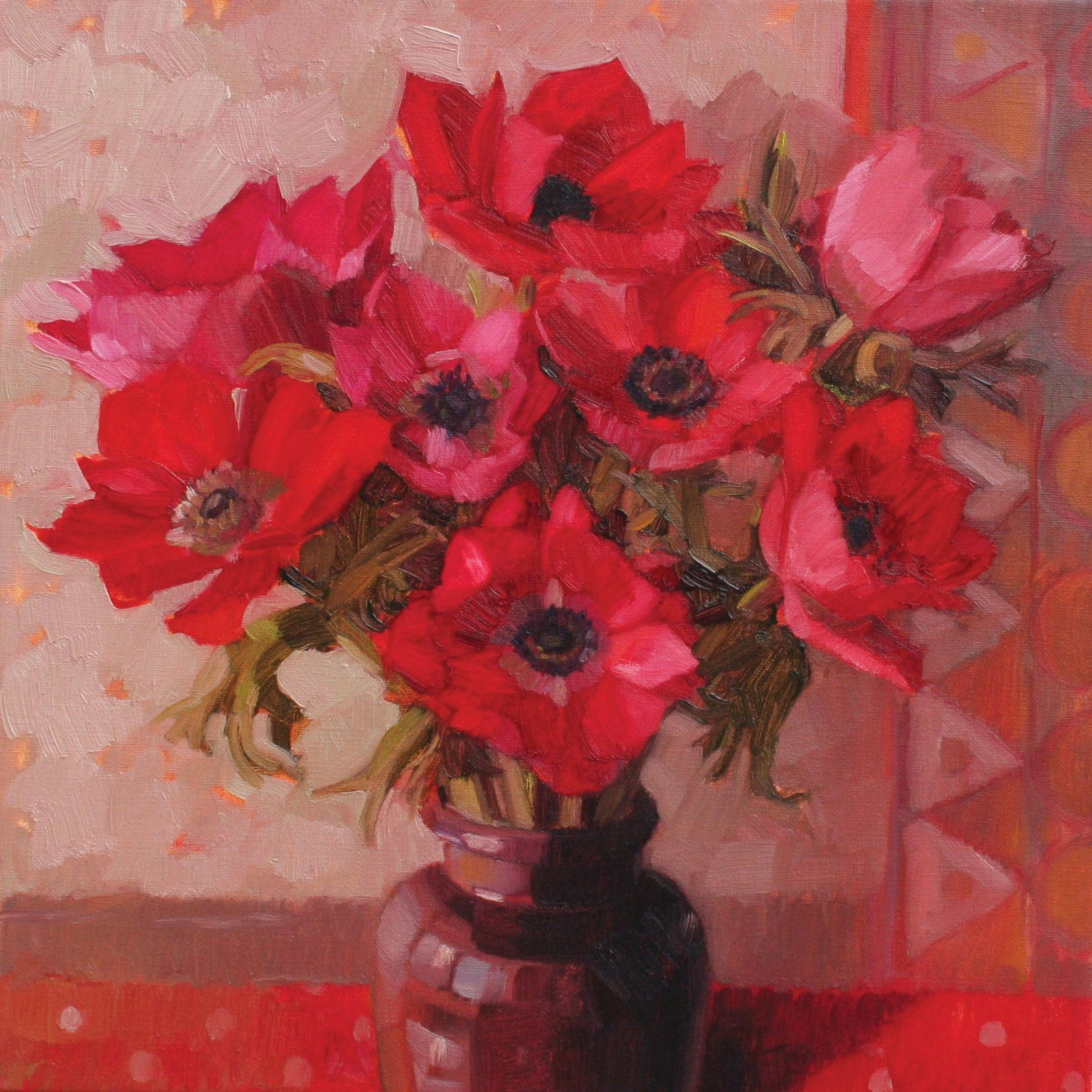 Red Anemones by Anne-Marie Butlin, Fine Art Greeting Card, Oil on Canvas, Red anemones in vase