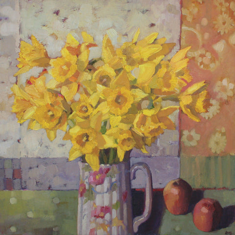 Daffodils by Anne-Marie Butlin, Fine Art Greeting Card, Oil on Canvas, Daffodils in jug