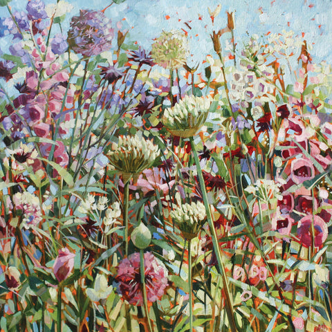 Spring Garden by Anne-Marie Butlin, Fine Art Greeting Card, Oil on Canvas, Spring garden flowers