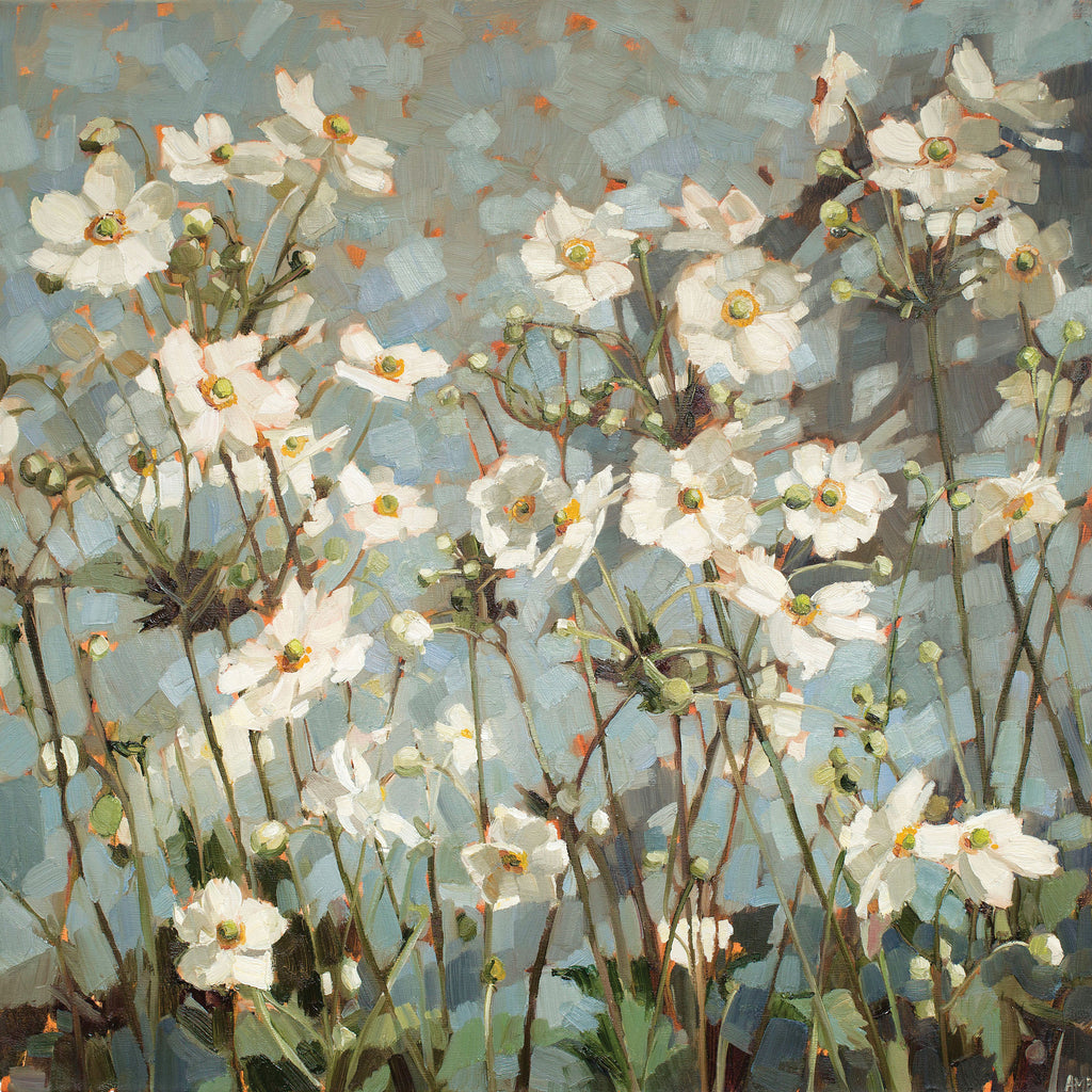 Late Summer Garden by Anne-Marie Butlin, Fine Art Greeting Card, Oil on Canvas, Japanese anemones growing