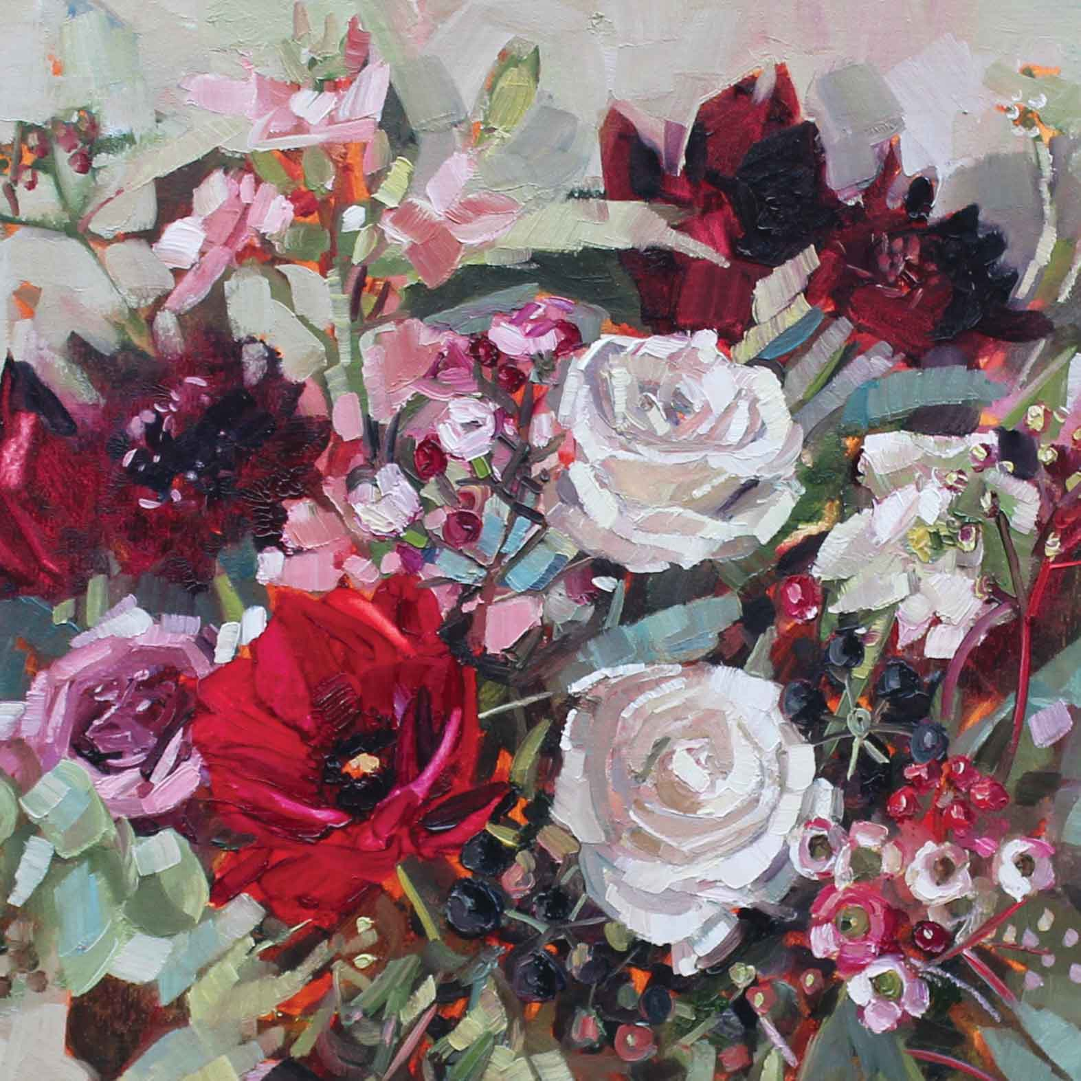 Late Summer Roses by Anne-Marie Butlin, Fine Art Greeting Card, Oil, Bouquet of roses