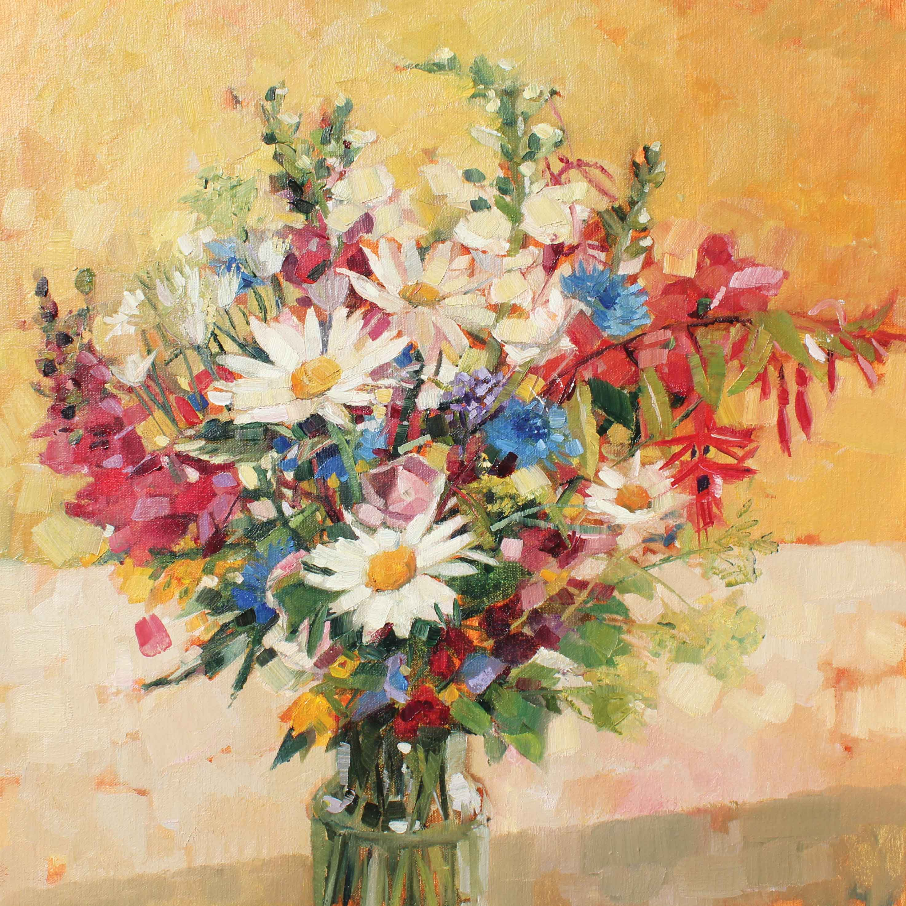 Art Greeting Card by Anne-Marie Butlin, Oilpainting, Garden flowers in vase