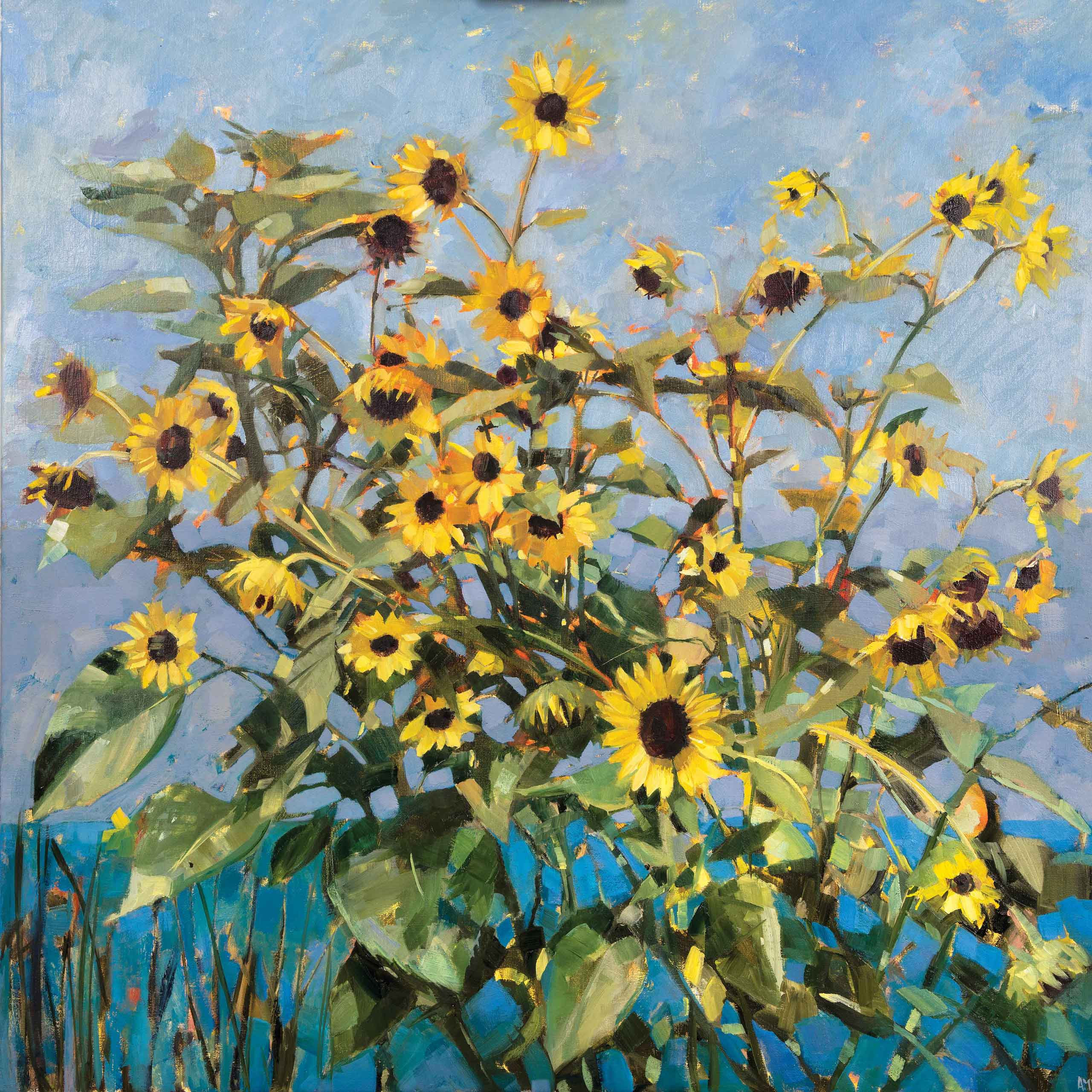 Art Greeting Card by Anne-Marie Butlin, Oilpainting, Sunflowers