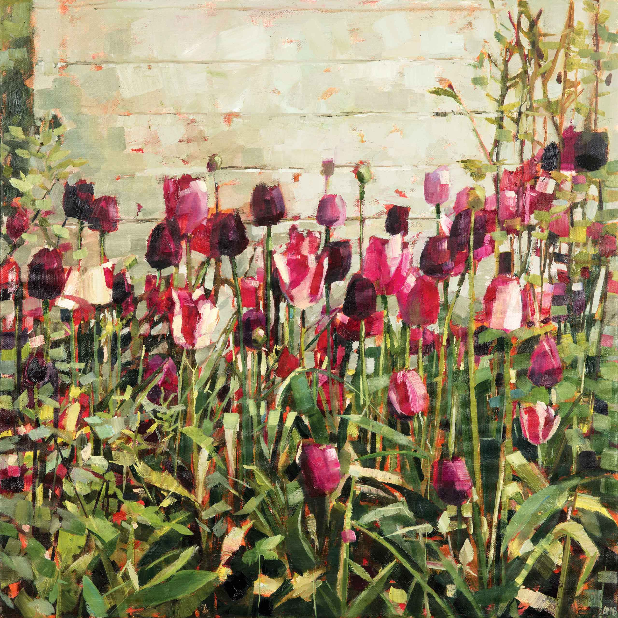 Art Greeting Card by Anne-Marie Butlin, Oilpainting, Tulips in the garden