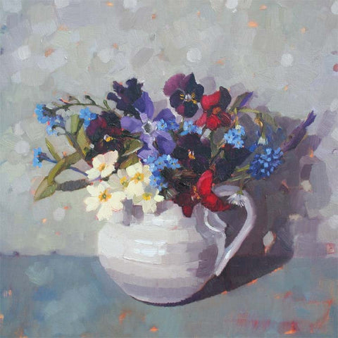 Spring Flowers with Forget-Me-Nots by Anne-Marie Butlin, Fine Art Greeting Card, Oil on Canvas, Spring flowers in a white jug