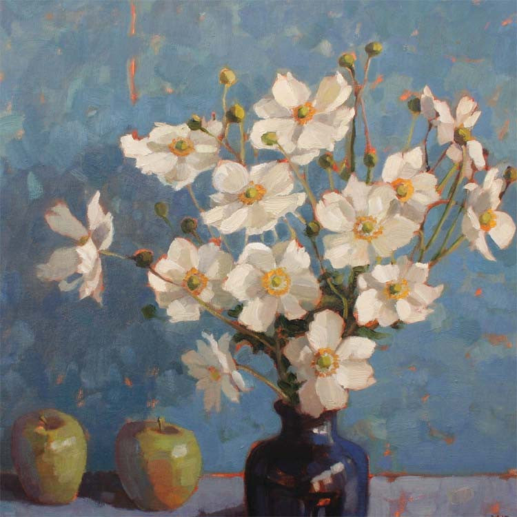 Japanese Anemones by Anne-Marie Butlin, Fine Art Greeting Card, Oil on Canvas, Japanese anemones in vase with two apples
