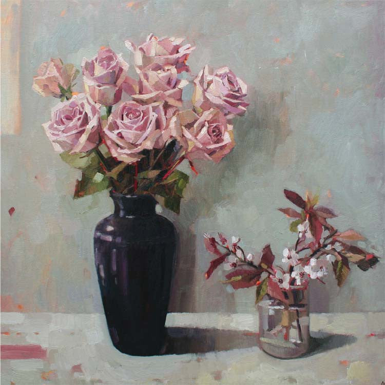 Roses and Spring Blossom by Anne-Marie Butlin, Fine Art Greeting Card, Oil on Canvas, Roses and blossom in vases