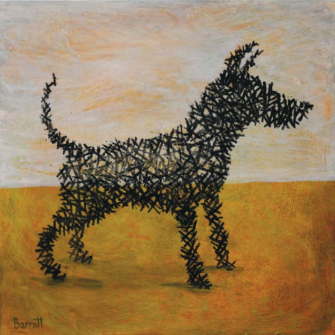 Art Greeting Card, Oil on Panel, Black dog sculpture