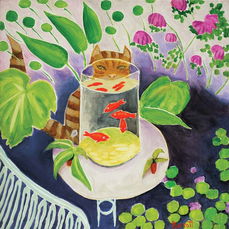 Art Greeting Card, Oil on Panel, Cat watching goldfish in bowl