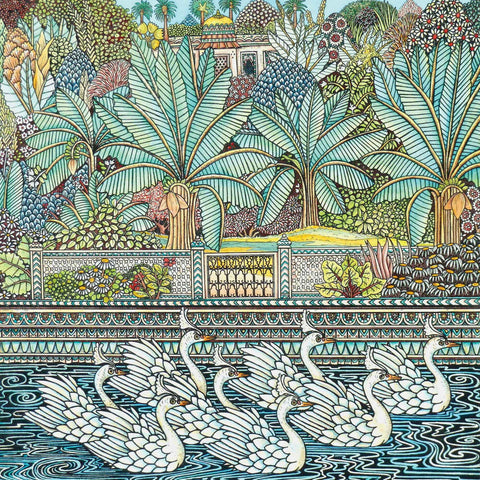 Art greeting card by Meg Dutton, Etching and watercolour, mosaic style lake with swans