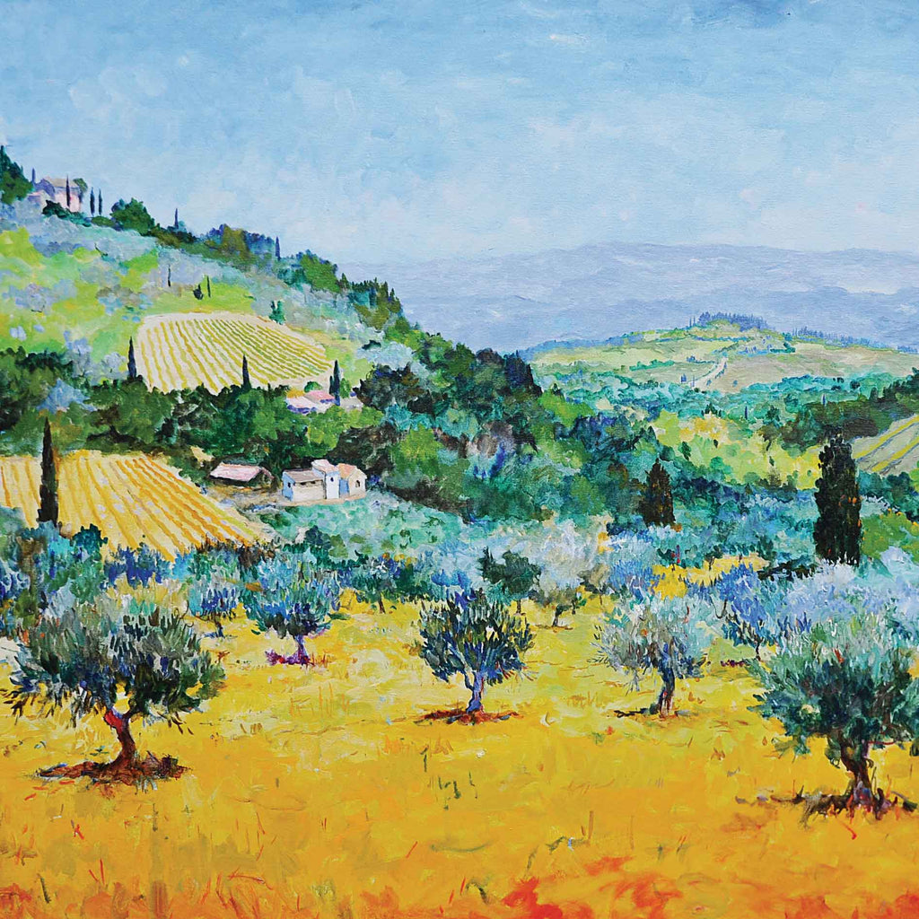 Olive and Vines by Marcel Gatteaux, Fine Art Greeting Card, Oil, Olive and vines