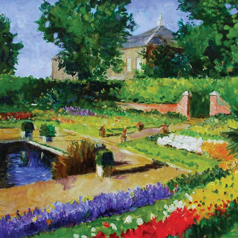 Kensington Palace Gardens by Marcel Gatteaux, Fine Art Greeting Card, Oil, Kensington palace gardens