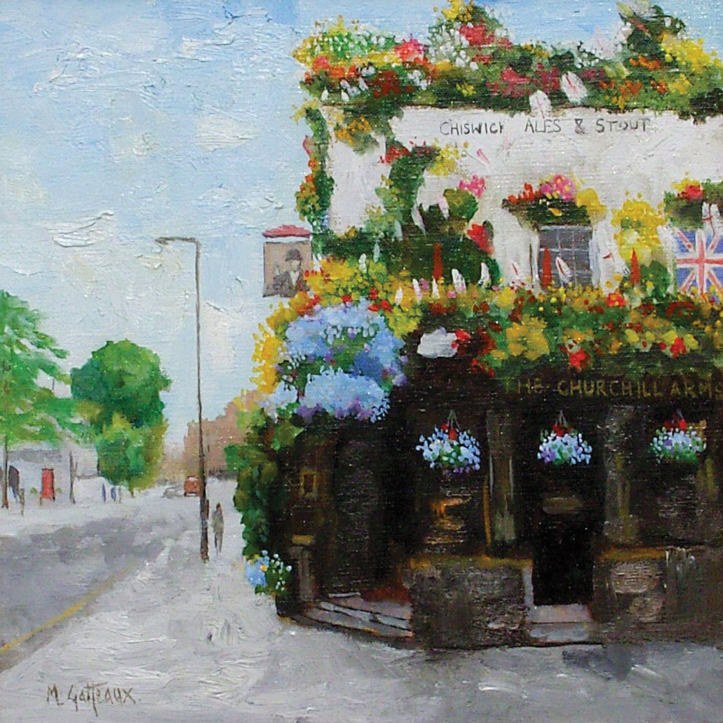 Churchill Arms by Marcel Gatteaux, Fine Art Greeting Card, Oil, Churchill Arms pub exterior