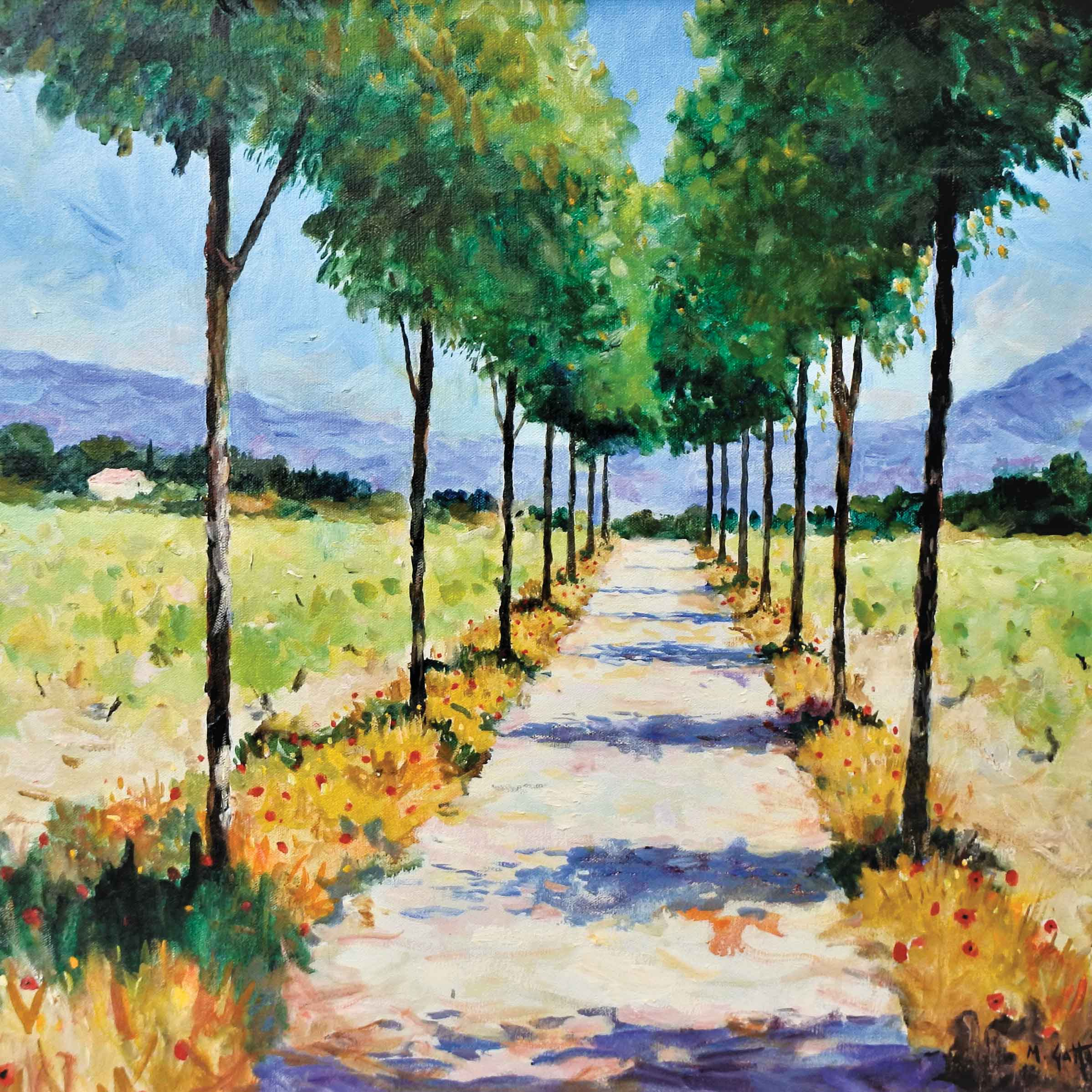 Art greeting card by Marcel Gatteaux, A path through landscape