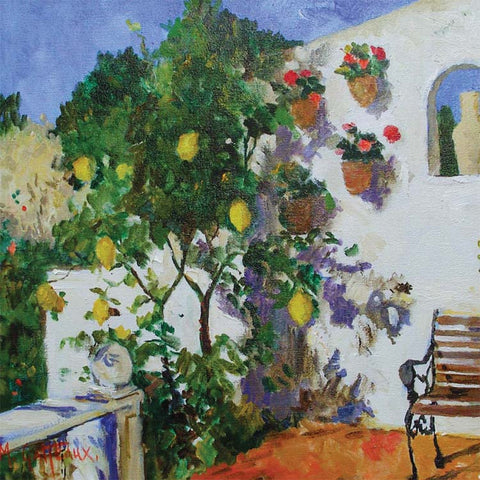 Fine Art Greeting Card, Oil on Canvas, A lemon tree by a white house