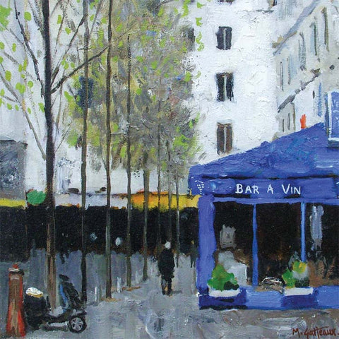 Fine Art Greeting Card, Oil on Canvas, Paris street scene