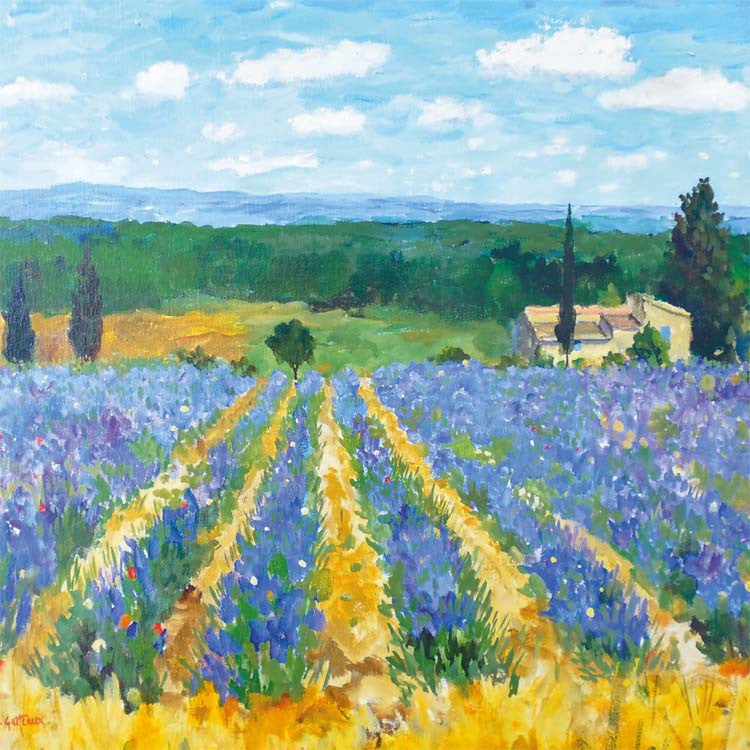 Fine Art Greeting Card, Oil on Canvas, Lavender field