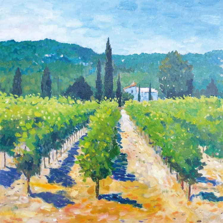 Fine Art Greeting Card, Oil on Canvas, Vineyard