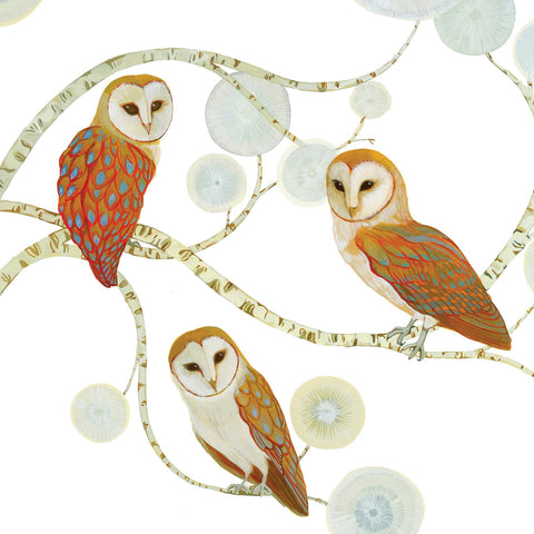 A Silent Encounter by Melissa Launay, Fine Art Greeting Card, Gouache on Paper, Three barn owls in tree