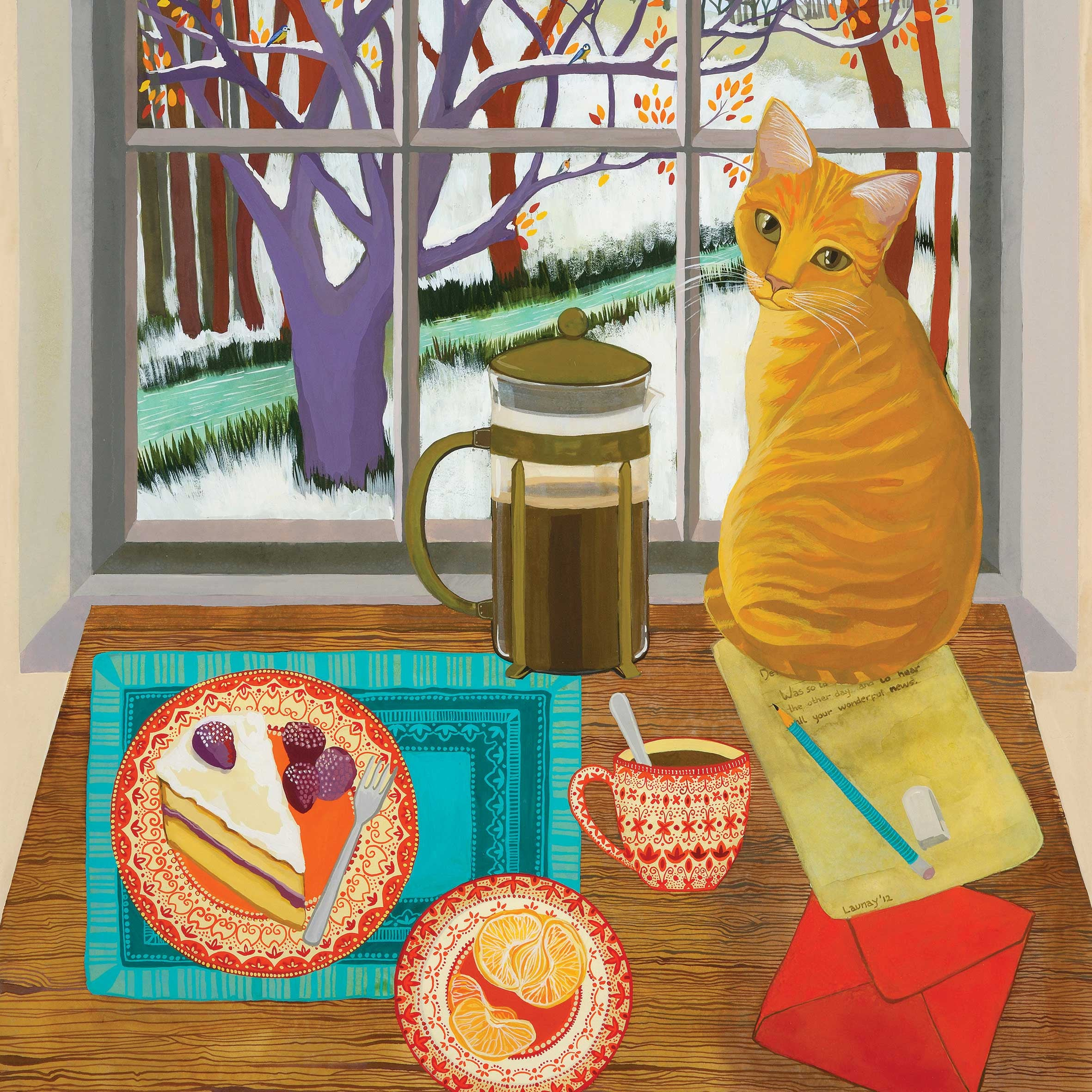 A Welcome Visitor by Melissa Launay, Fine Art Greeting Card, Gouache on Paper, Cat on table watching birds outside the window