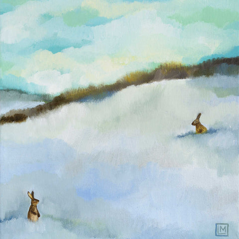 The Conversation by Melissa Launay, Fine Art Greeting card, Oil on Board, Two hares in snow