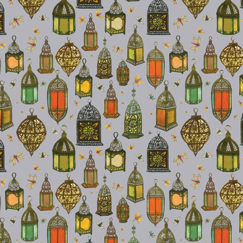 Fine Art Greeting Card by Melissa Launay, Hand Painted and Photoshop, Moroccan lantern pattern