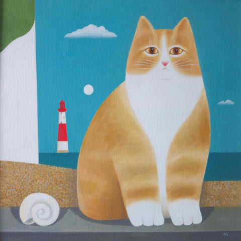 Fine Art Greeting Card by Martin Leman, Beachy Head, Oil on board, Cat on the beach with lighthouse