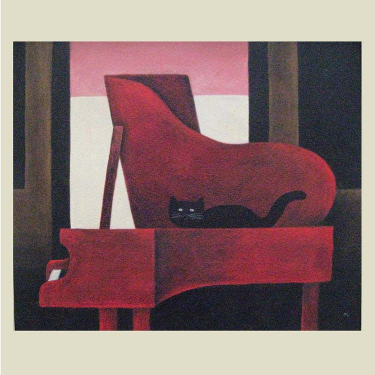 Fine Art Greeting Card, Black cat on grand piano