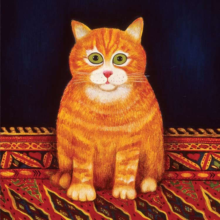 Fine Art Greeting Card, Oil on Board, Ginger cat on a mat