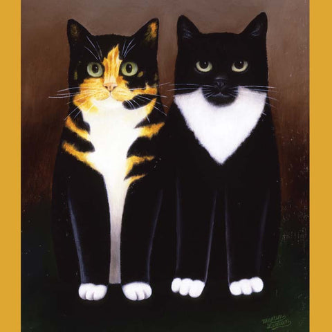 Fine Art Greeting Card, Oil on Board, Two cats