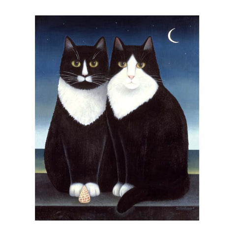 New Moon by Martin Leman, Fine Art Greeting Card, Oil on Board, Two black and white cats