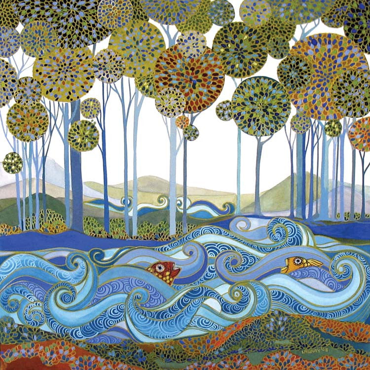 The Lake by Melissa Launay, Fine Art Greeting Card, Acrylic on Paper, A lake with fish and trees in the background