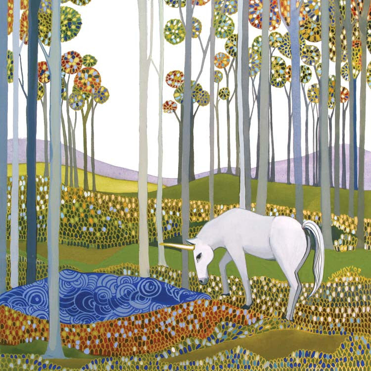 The Unicorn by Melissa Launay, Fine Art Greeting Card, Gouache on Paper, A unicorn drinking from a lake