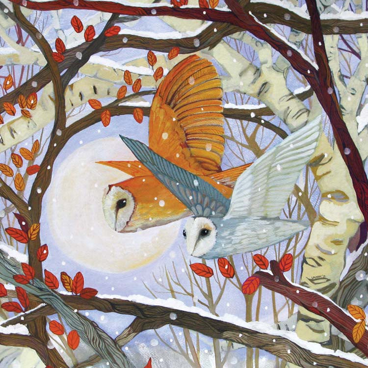 Just Like Owls by Melissa Launay, Fine Art Greeting Card, Gouache on Paper, Two owls flying through the woods with the moon in the background
