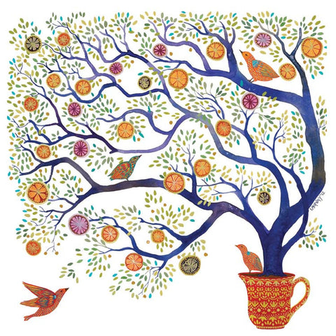 Sweet Pomegranate Tree by Melissa Launay, Fine Art Greeting Card, Gouache on Paper, Pomegranate tree in pot with birds