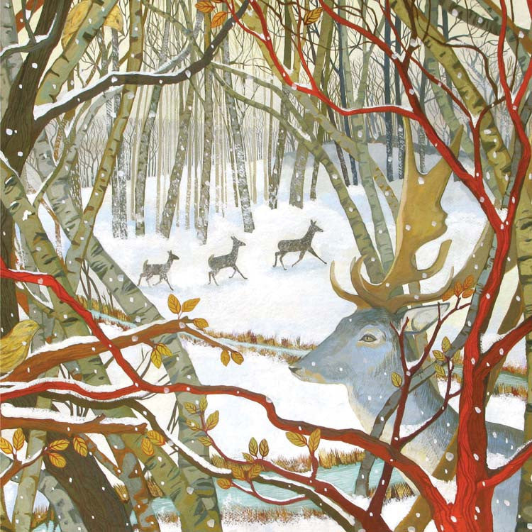 Three Deers and a Stag by Melissa Launay, Fine Art Greeting Card, Gouache on Paper, Winter landscape with three deers and a stag