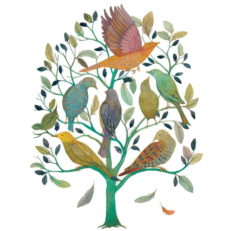 Tree of Feathers by Melissa Launay, Fine Art Greeting Card, Gouache on Paper, Birds in a tree