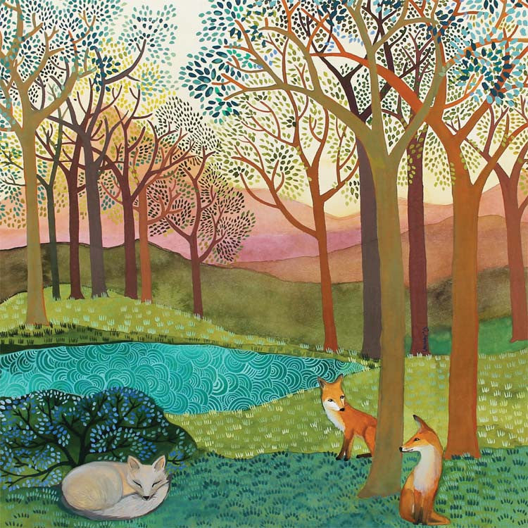 La Volpe by Melissa Launay, Fine Art Greeting Card, Gouache on Paper, Spring landscape with two red foxes and a sleeping white fox