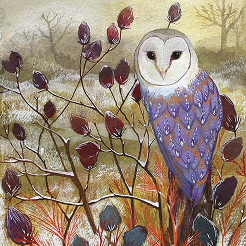 Barn Owl by Melissa Launay, Fine Art Greeting Card, Gouache on Paper, Winter landscape with barn owl on a twig