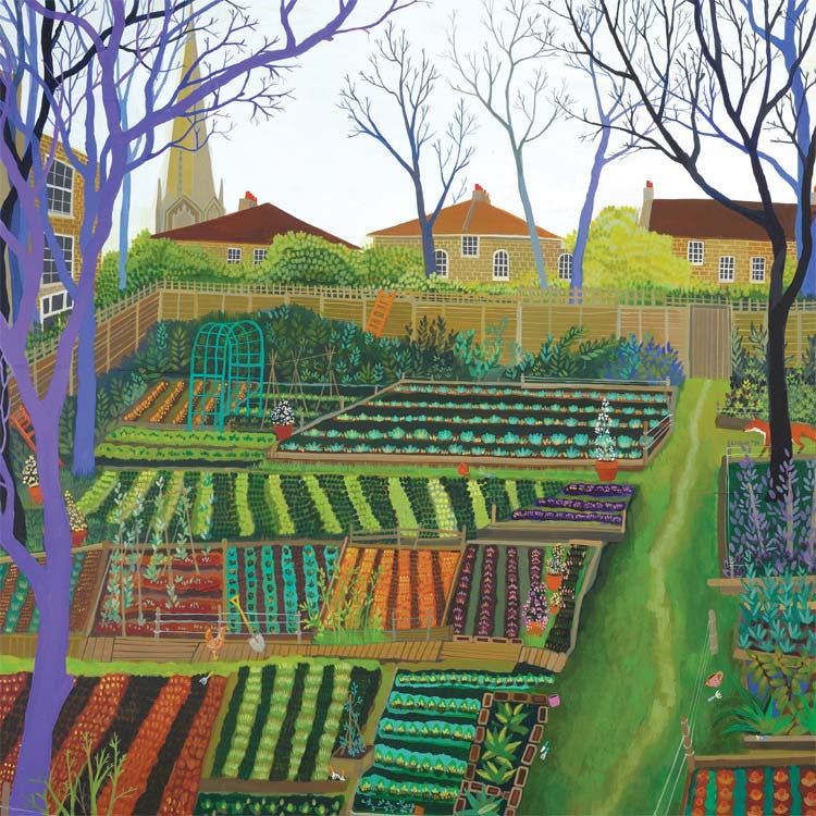 The Orange Ladder by Melissa Launay, Fine Art Greeting Card, Acrylic on Wood, Alotments with houses in the background